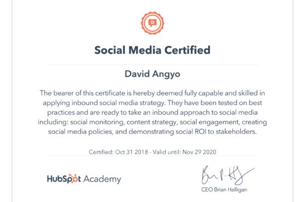Hubspot Social Media Certification